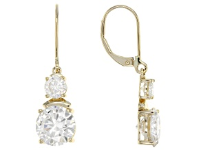 Moissanite 14k Yellow Gold Earrings 6.40ctw DEW.