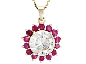 Moissanite and Ruby 14k Yellow Gold Pendant 1.90ct DEW.