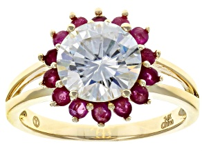 Moissanite and Ruby 14k Yellow Gold Ring 1.90ct DEW.