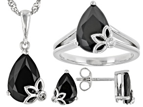 Black Spinel Rhodium Over Silver Ring, Earring,  Pendant With Chain Set 9.91ctw