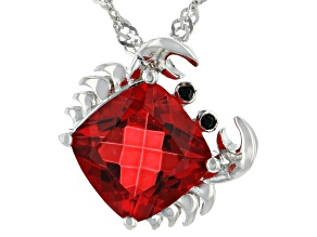 Red Coral Color Quartz Rhodium Over Silver Pendant With Chain 1.97ctw