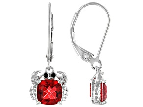 Red Coral Color Quartz Rhodium Over Sterling Silver Earrings 1.63ctw