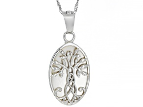 White Mother-of-Pearl Rhodium Over Silver Tree Of Life Enhancer With Chain