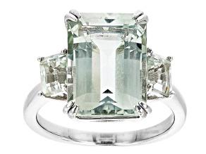 Green Prasiolite Rhodium Over Sterling Silver 3-Stone Ring 6.72ctw