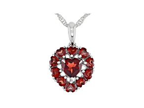 Red Vermelho Garnet™ Rhodium Over Sterling Silver Pendant With Chain 2.00ctw