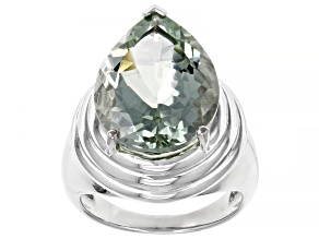 Green Prasiolite Rhodium Over Sterling Silver Solitaire Ring 7.84ct