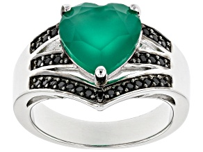 Green Onyx Rhodium Over Sterling Silver Ring 3.21ctw