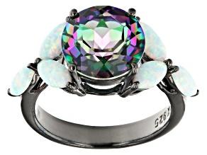 Multi Color Quartz Black Rhodium Over Sterling Silver Ring 3.29ct