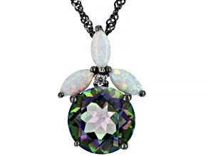 Multcolor Quartz Black Rhodium Over Silver Pendant With Chain 3.31ctw