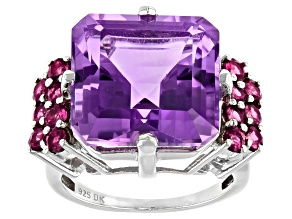 Purple Amethyst Rhodium Over Sterling Silver Ring 11.68ctw
