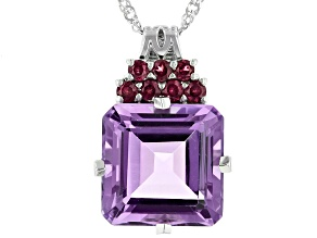 Lavender Amethyst Rhodium Over Silver Pendant With Chain 10.37ctw
