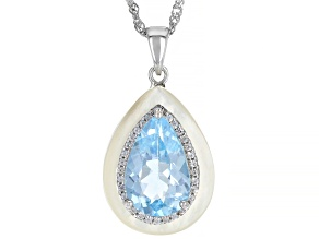 Sky Blue Topaz Rhodium Over Sterling Silver Pendant With Chain 5.55ctw