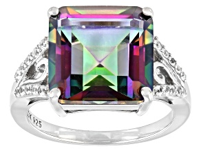 Multi-Color Quartz Rhodium Over Sterling Silver Ring 7.27ctw