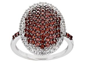Red Garnet Rhodium Over Sterling Silver Ring 1.81ctw