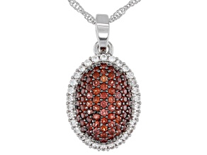Red Garnet Rhodium Over Sterling Silver Pendant with Chain 1.72ctw