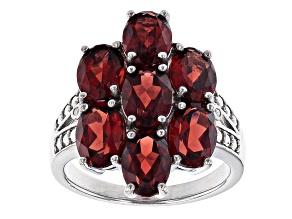 Red Garnet Rhoduim Over Sterling Silver Ring 4.78ctw