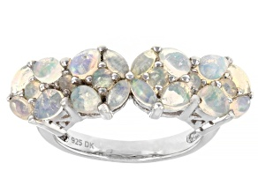 Multicolor Ethiopian Opal Rhodium Over Sterling Silver Ring 1.04ctw