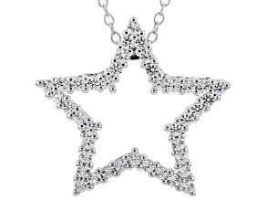 White Lab Created Sapphire Rhodium Over Silver Star Pendant With Chain 0.54ctw