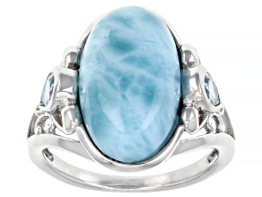 Blue Larimar Rhodium Over Sterling Silver Ring 0.31ctw