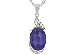 Blue Lapis Quartz Doublet Rhodium Over Silver Pendant Chain 0.24ctw