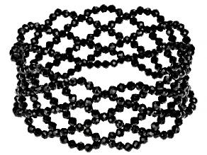 Black Spinel Beaded Stretch Bracelet