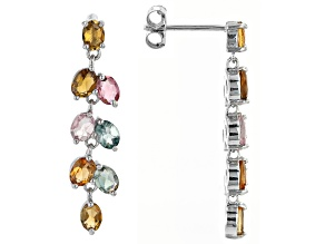 Multi-Tourmaline Rhodium Over Sterling Silver Earrings 1.55ctw
