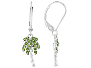 Green Chrome Diopside Rhodium Over Sterling Silver Dangle Earrings 0.31ctw