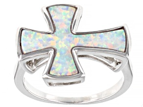 White Lab Created Opal Rhodium Over Sterling Silver Cross Ring