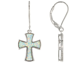 White Lab Created Opal Rhodium Over Silver Cross Dangle Earrings