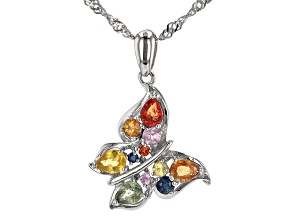 Multi-Sapphire Rhodium Over Silver Butterfly Pendant With Chain 1.03ctw