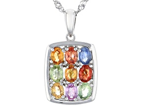 Multi-Sapphire Rhodium Over Sterling Silver Pendant With Chain 1.53ctw