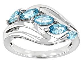 Blue Zircon Rhodium Over Sterling Silver Ring 1.19ctw