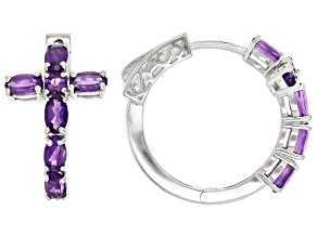 Purple Amethyst Rhodium Over Sterling Silver Hoop Earrings 2.34ctw