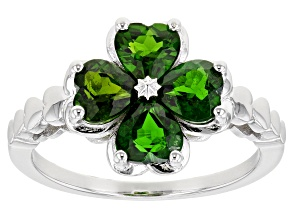 Green Chrome Diopside Rhodium Over Silver Four Leaf Clover Ring 1.63ctw