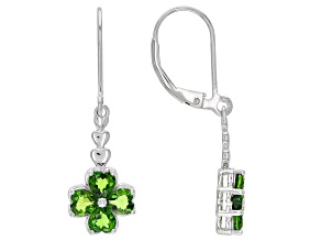Green Chrome Diopside Rhodium Over Silver Four Leaf Clover Dangle Earrings 1.90ctw