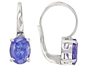 Blue Tanzanite Rhodium Over Sterling Silver Solitaire Drop Earrings 2.12ctw