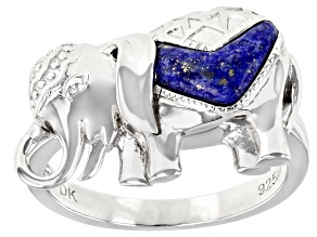 Blue Lapis Lazuli Rhodium Over Sterling Silver Elephant Ring