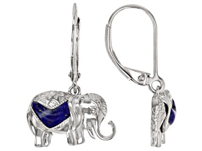 Blue Lapis Lazuli Rhodium Over Sterling Silver Elephant Earrings