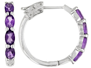 Purple Amethyst Rhodium Over Sterling Silver Hoop Earrings 1.49ctw