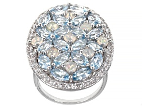 Blue Topaz Rhodium Over Sterling Silver Ring 7.27ctw