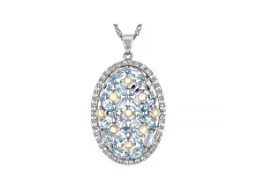 Blue Topaz Rhodium Over Sterling Silver Pendant Chain 7.27ctw