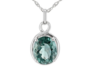 Teal Fluorite Rhodium Over Sterling Silver Pendant With Chain. 5.53ct