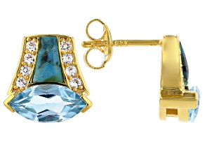 Blue Topaz 18k Yellow Gold Over Sterling Silver Earrings 2.04ctw