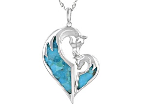 Blue Turquoise Rhodium Over Sterling Silver Horse Pendant With Chain