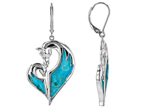 Blue Turquoise Rhodium Over Sterling Silver Horse Earrings