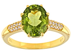 Green Peridot 18K Yellow Gold Over Sterling Silver Ring 1.78ctw