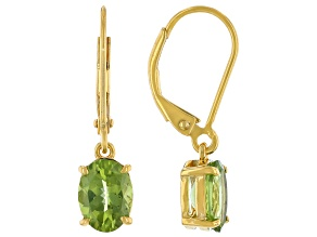 Green Peridot 18K Yellow Gold Over Sterling Silver Earrings 2.21ctw