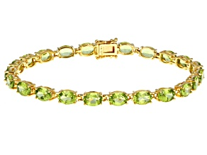 Green Peridot 18K Yellow Gold Over Sterling Silver Bracelet 15.90ctw