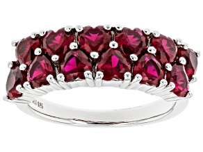 Red Lab Created Ruby Rhodium Over Sterling Silver Ring 2.04ctw