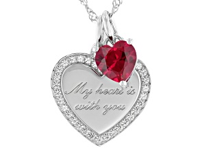 Red Lab Created Ruby Rhodium Over Sterling Silver Heart Pendant With Chain 1.62ctw